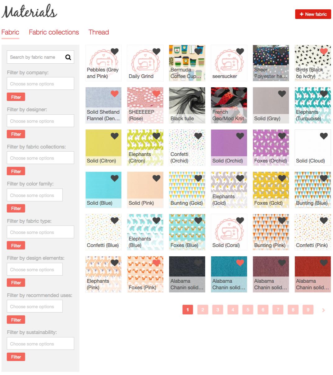 Fabrics database