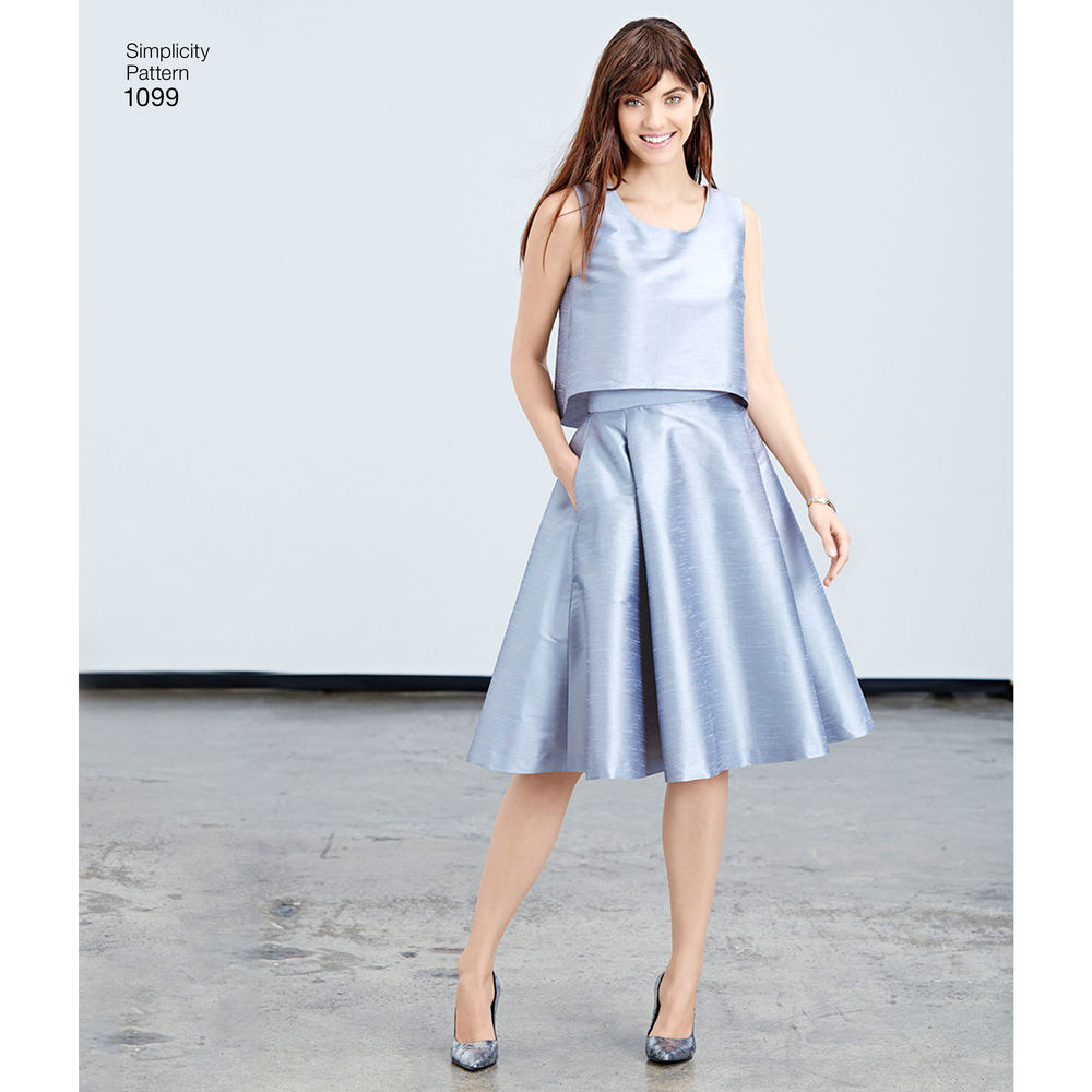 1099 | Missesu0026#39; Full Skirts Slim Skirt and Tops | Textillia | Online sewing community and database