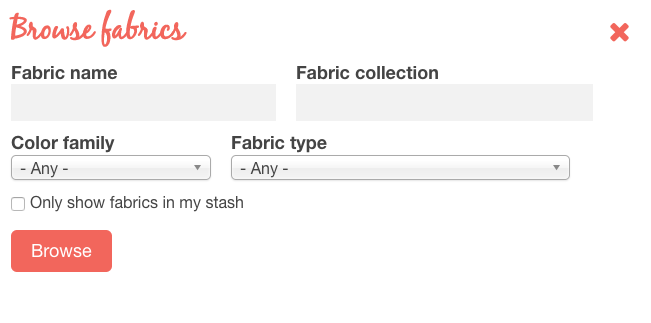 Fabric database browsing filters