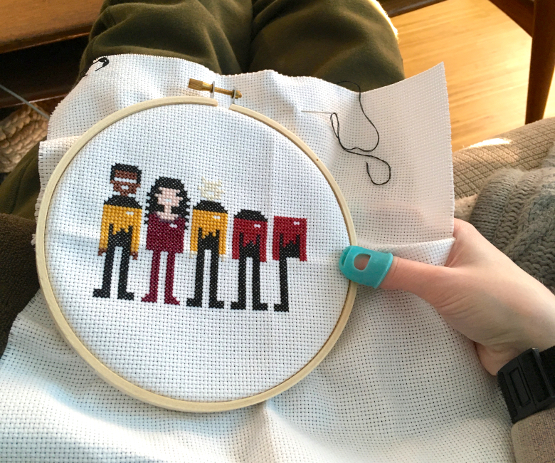 In-progress Star Trek TNG cross stitch project