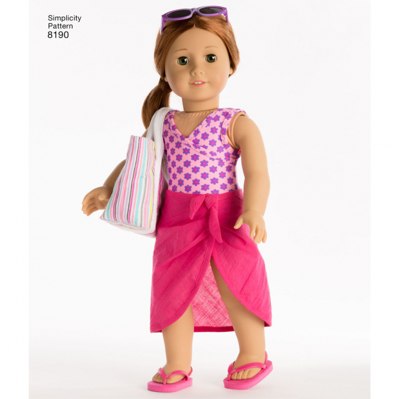 """Simplicity Pattern 8190 American Girl Doll Clothes for 18/"""" Doll swimsuits beach"""