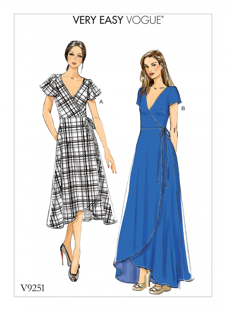 V9251 Misses Wrap Dresses With Ties Sleeve And Length Variations
