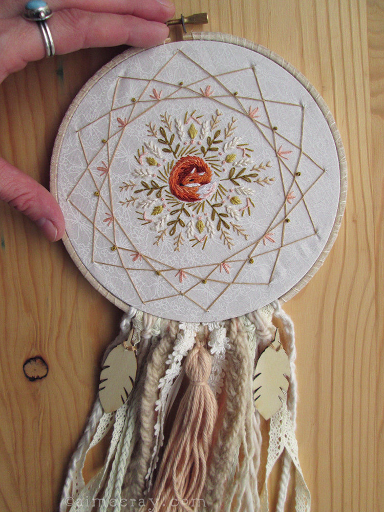 Sleeping Fox Mandala Dream Catcher Embroidery Pattern ...