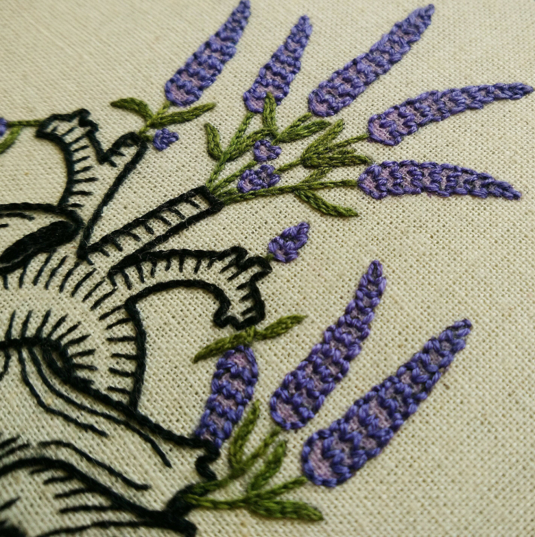 Lavender Human Heart Hand Embroidery Pattern Textillia