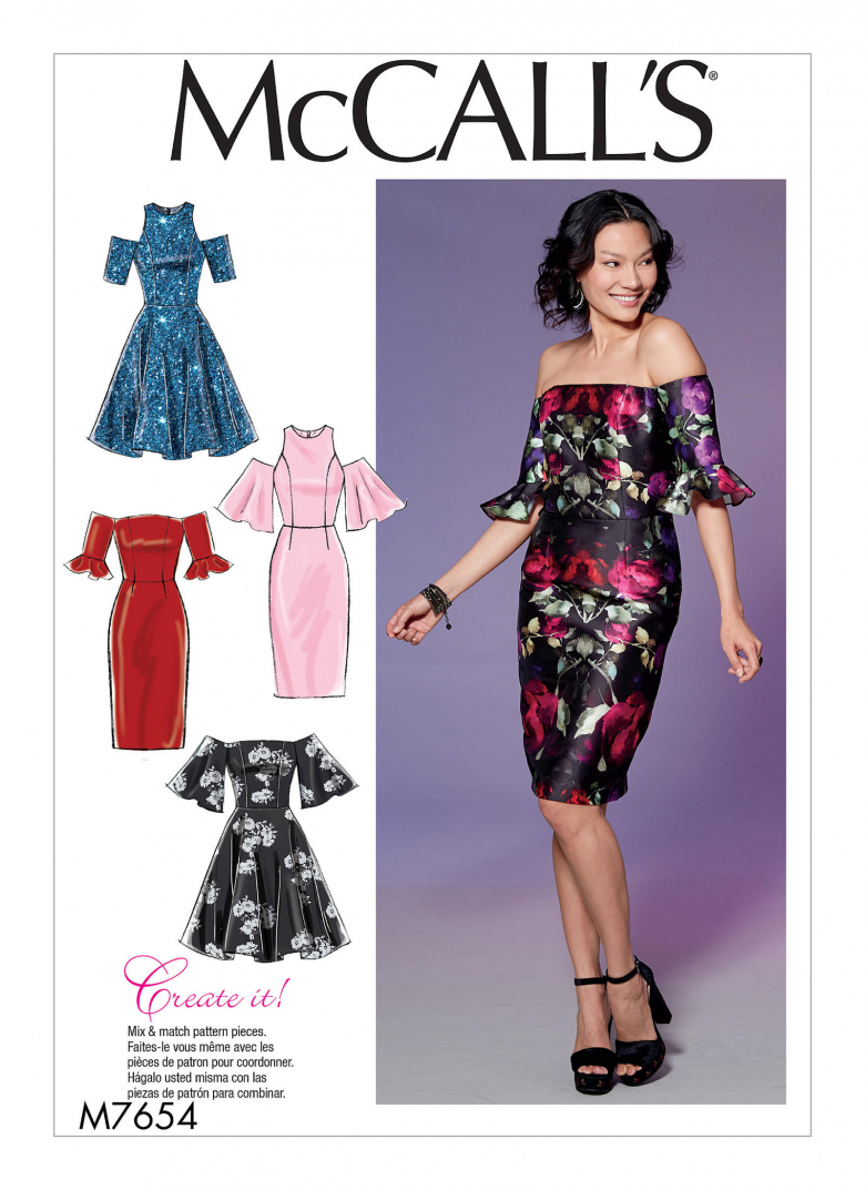 M7654 Misses Miss Petite Dresses With Mix And Match Shoulder