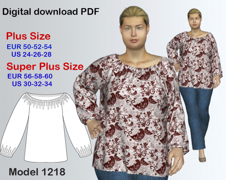 Plus size Tunic Sewing Pattern for sizes 24-34 | Textillia