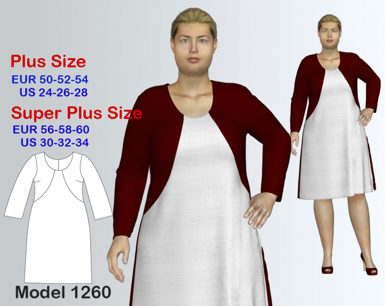 Plus size Knit Dress Sewing Pattern for sizes 24-34 | Textillia