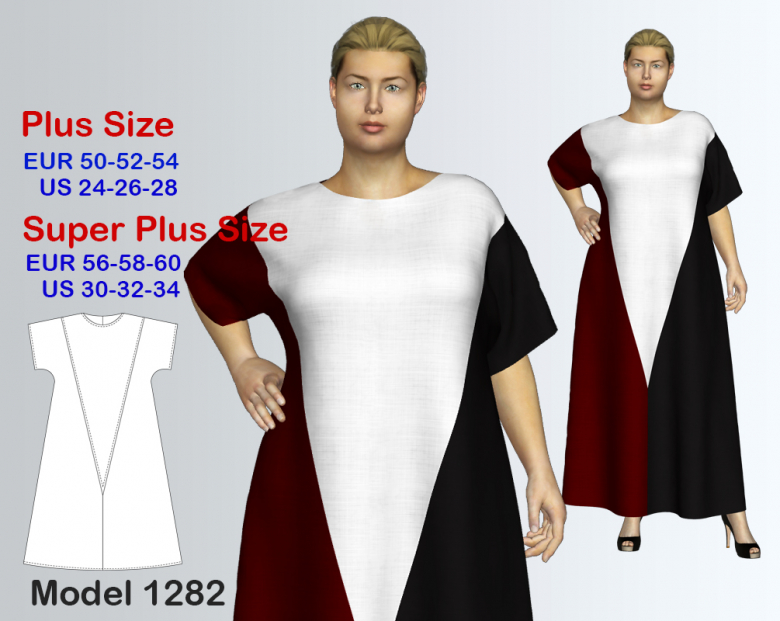 Plus size Loose Maxi Dress Sewing Pattern for sizes 24-34 | Textillia