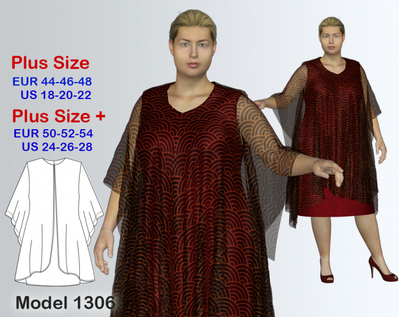 Plus Size Dress With Cape Sewing Pattern For Sizes 18 28 Textillia