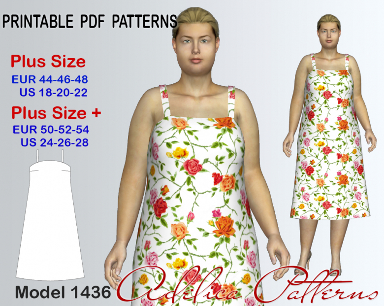 3ff8a4a7dd Plus size Sleevless Summer dress Sewing pattern for sizes 18-28 ...