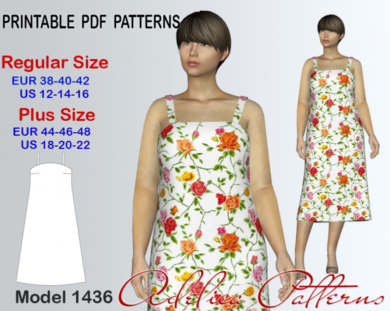 bd593803dab Sleevless Summer dress Sewing Pattern for sizes 12-22