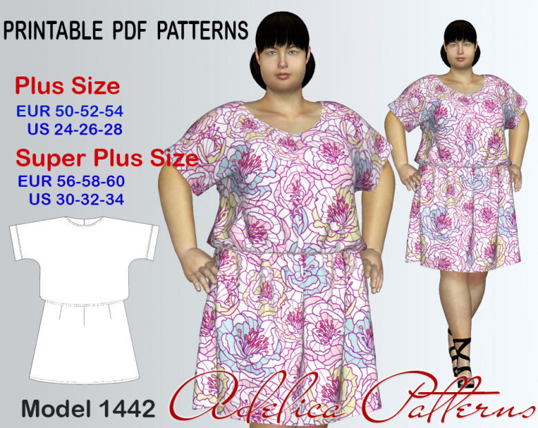 Plus size Knee length Short-Sleeve Dress-Tunic Sewing Pattern for ...