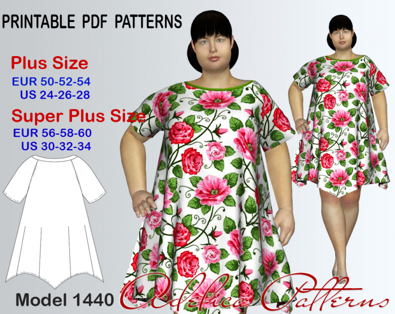 Plus Size Loose Fitting Summer Dress Sewing Pattern For Sizes 24 34