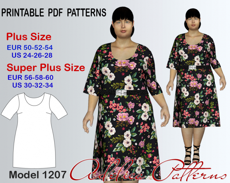 Plus size Summer Dress Sewing pattern for sizes 24-34 | Textillia