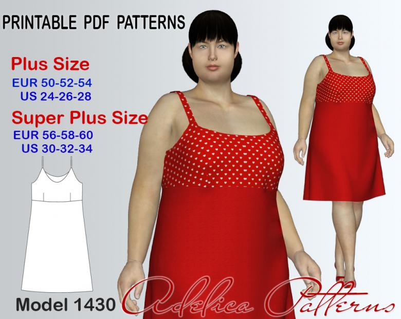 Plus Size Slip Spaghetti Strap Dress Sewing Pattern For Sizes 24 34