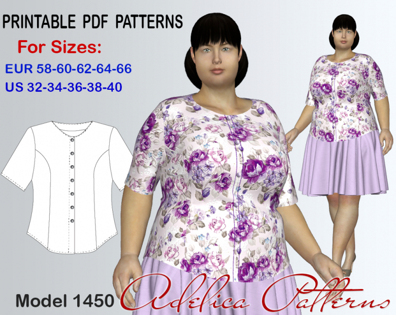Plus Size Blouse Sewing Pattern For Women In Sizes 32 40 Textillia
