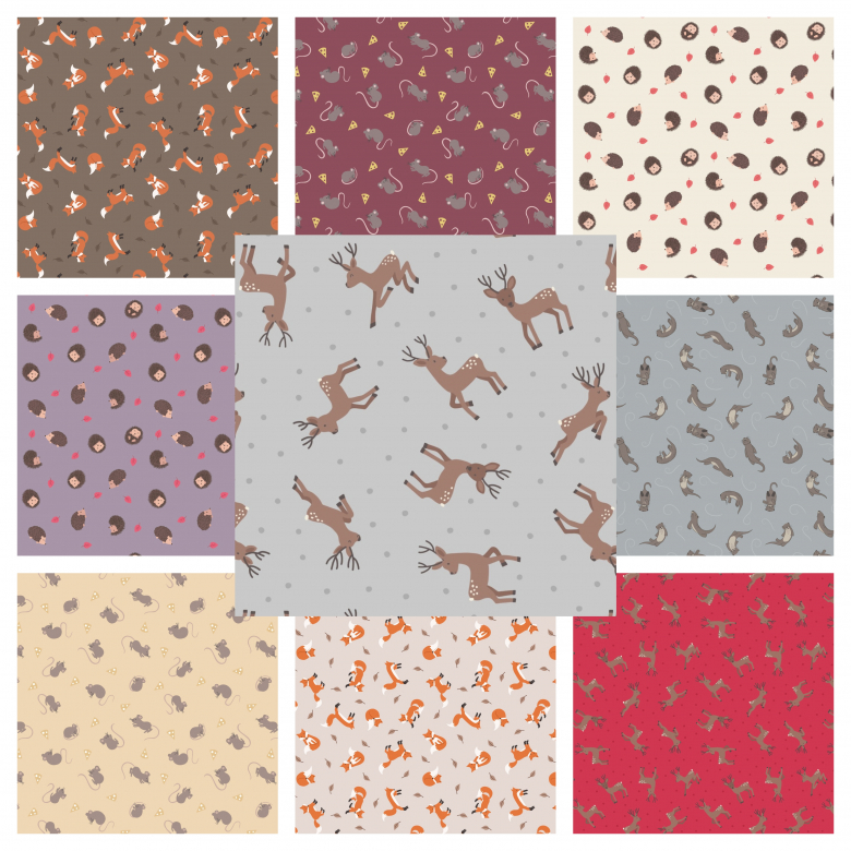 Deer Grey ~ Small Things...Country Creatures~ Lewis /& Irene 100/% Cotton