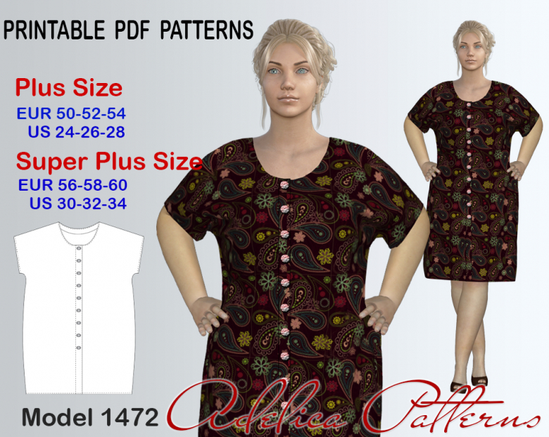 Plus Size Button Front Kimono Dress Sewing Pattern For Sizes 24 34