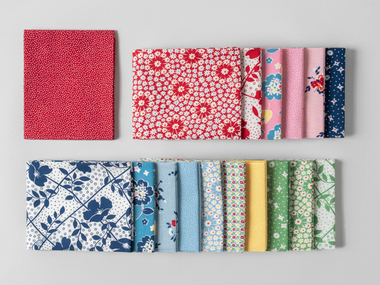 Fat quarters showing prints and colors form the 1930s Revival collection