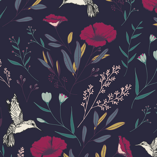Botanical print on navy background with hummingbirds
