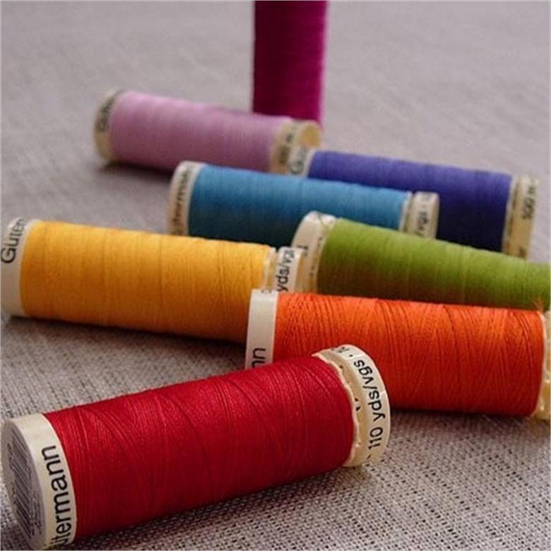 Gutermann Sew-All Threads in bright colours on fabric