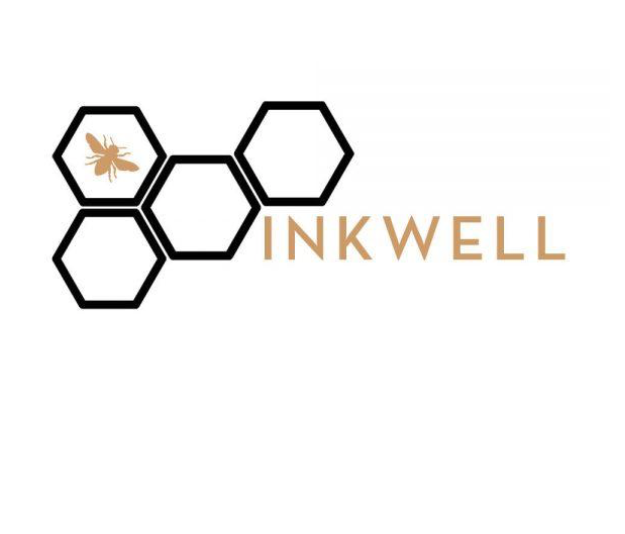 The logo for Birch Fabrics Inkwell collection featuring four black hexagons and a gold bee.