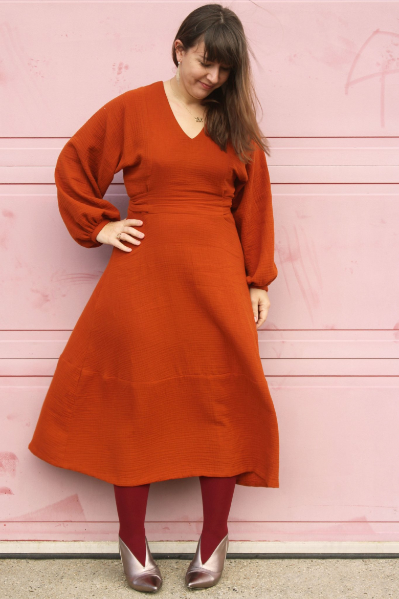 Belemnite dress - view A, front, on model in rusty red-orange