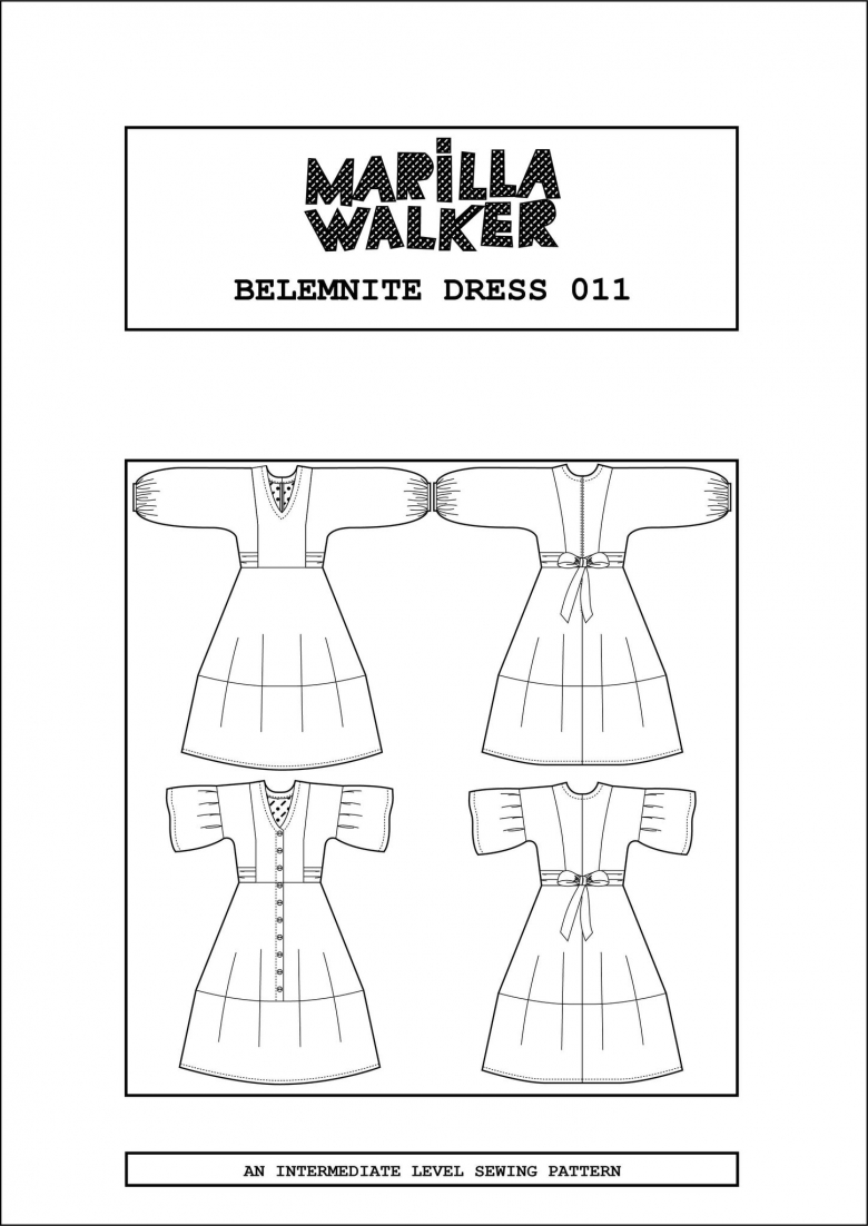Belemnite dress - pattern cover with digital drawings