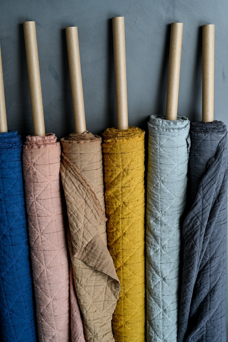Fabric on rolls in different colours