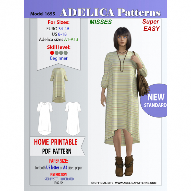 Adelica pattern 1655 Misses / Petite Sewing pattern Relaxed Fit High-Low dress