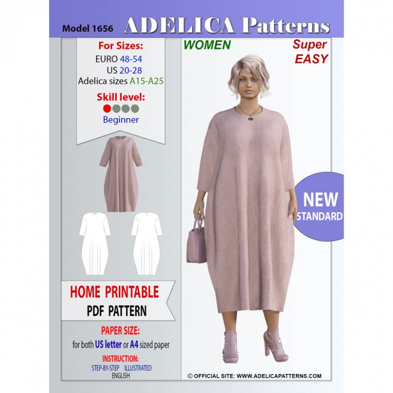 Adelica pattern 1656 Plus size Oversized Midi length Sewing pattern dress