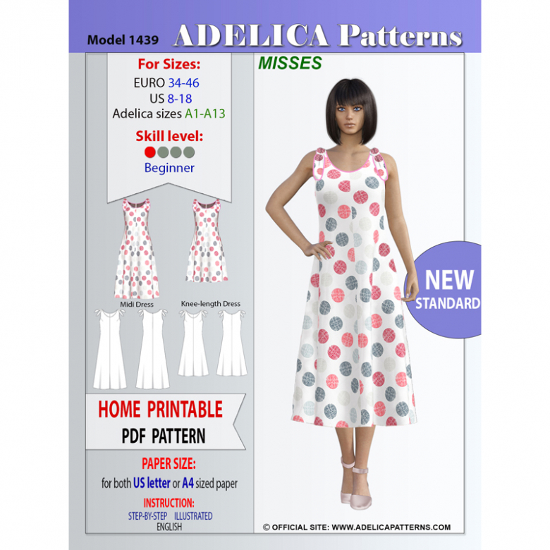 Adelica pattern 1439 Misses Dress Sewing Pattern