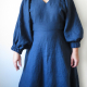 Belemnite dress - view A with bonus sleeve, front closeup, on model in blue denim