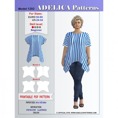 c70815b903b9 Plus size Loose fit Tunic Sewing Pattern Women s sizes 24-34 US   50-60 EURO