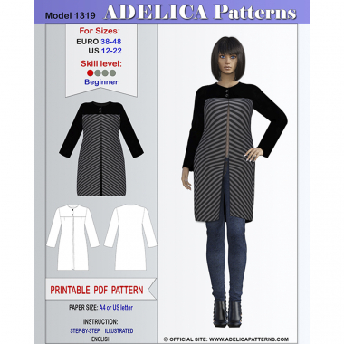 76fc466325f48 Cardigan Sewing Pattern PDF for sizes 12-22 US   38-48 EURO