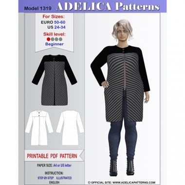 b33a22fd0e1 Cardigan Sewing Pattern PDF for sizes 24-34 US   50-60 EURO