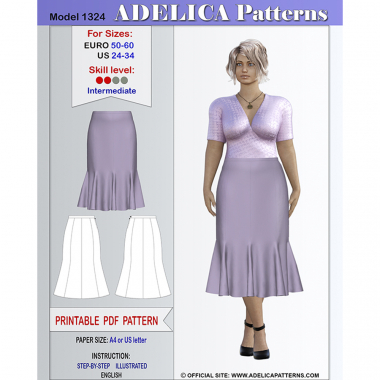 2342dbdcd1d Plus size Midi length Flared Skirt Sewing Pattern PDF for sizes 24-34 US    50-60 EURO