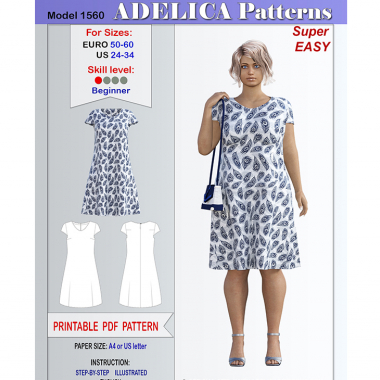 48e3de6d Cap sleeve Summer Dress Sewing Pattern PDF for sizes 24-34 US / 50-60 EURO.  Adelica patterns