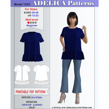 e942e71f36140 Blouse Tunic Sewing Pattern PDF for sizes 12-22 US / 38-48 EURO